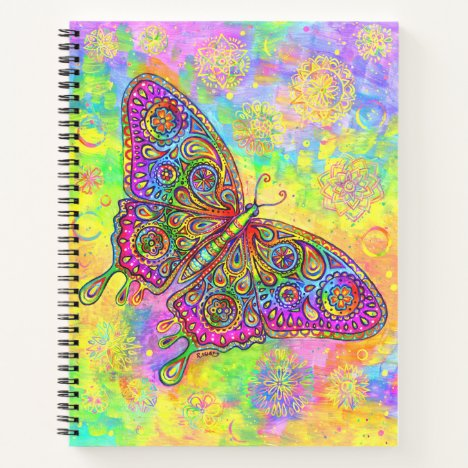 Psychedelic Rainbow Butterfly Spiral Notebook