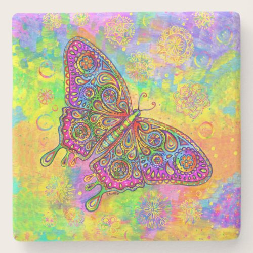 Psychedelic Rainbow Butterfly Stone Coaster