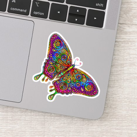 Psychedelic Rainbow Butterfly Vinyl Sticker
