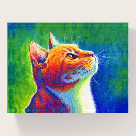 Psychedelic Rainbow Cat Portrait Paperweight