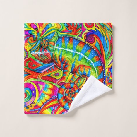 Psychedelic Rainbow Chameleon bath towel set