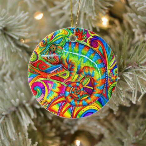 Psychedelic Rainbow Chameleon Ceramic Ornament
