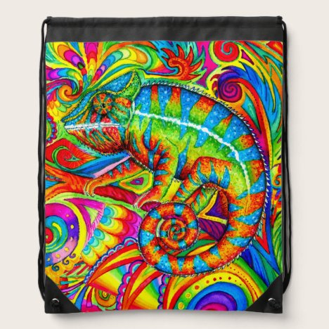Psychedelic Rainbow Chameleon Drawstring Backpack