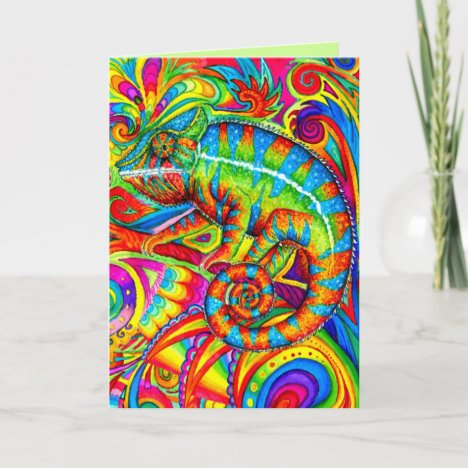 Psychedelic Rainbow Chameleon Greeting Card