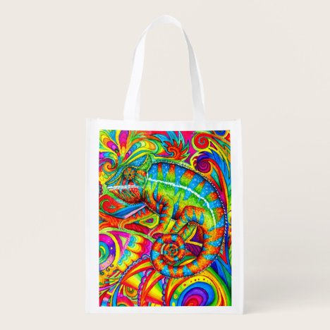 Psychedelic Rainbow Chameleon Grocery Bag