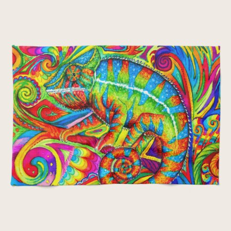 Psychedelic Rainbow Chameleon Kitchen Towels