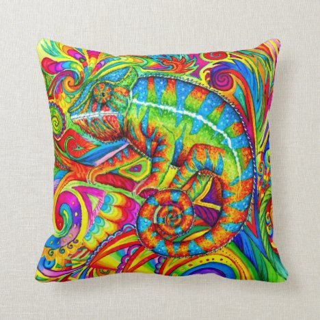 Psychedelic Rainbow Chameleon Lizard Throw Pillow