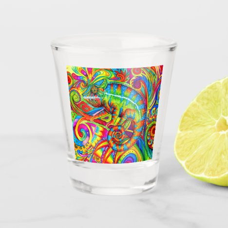 Psychedelic Rainbow Chameleon Shot Glass