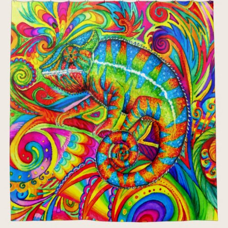 Psychedelic Rainbow Chameleon Shower Curtain