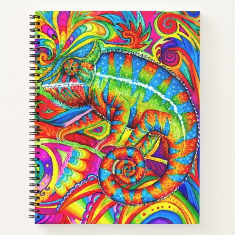 Psychedelic Rainbow Chameleon spiral notebook