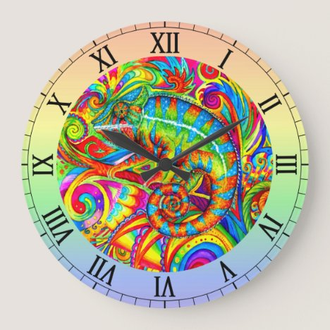 Psychedelic Rainbow Chameleon Wall Clock