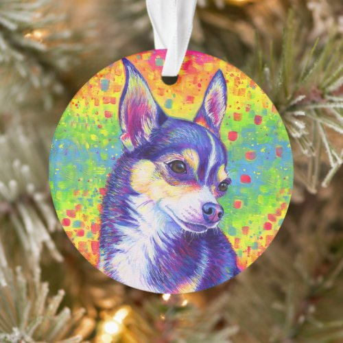 Psychedelic Rainbow Chihuahua Acrylic Ornament