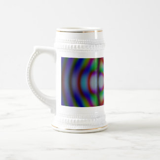 psychedelic rainbow circles and lines with white beer stein