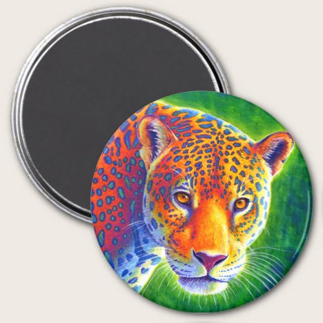 Psychedelic Rainbow Colorful Jaguar Magnet