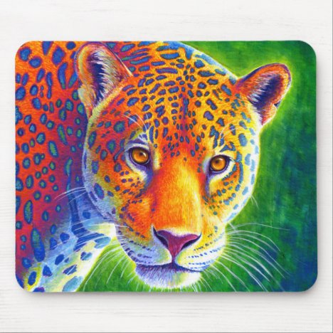 Psychedelic Rainbow Colorful Jaguar Mouse pad