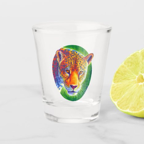Psychedelic Rainbow Colorful Jaguar Shot Glass