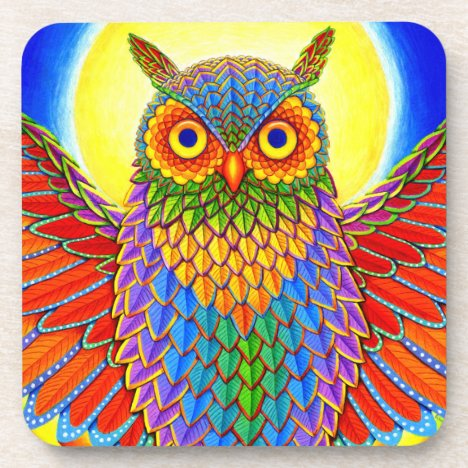 Psychedelic Rainbow Colorful Owl Plastic Coasters
