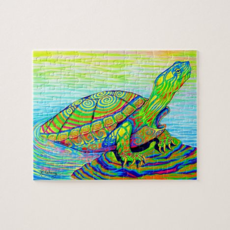 Psychedelic Rainbow Colorful Painted Turtle Puzzle