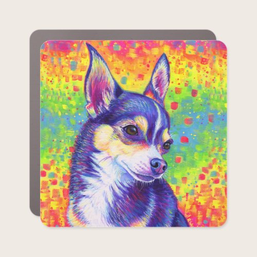 Psychedelic Rainbow Cute Chihuahua Car Magnet