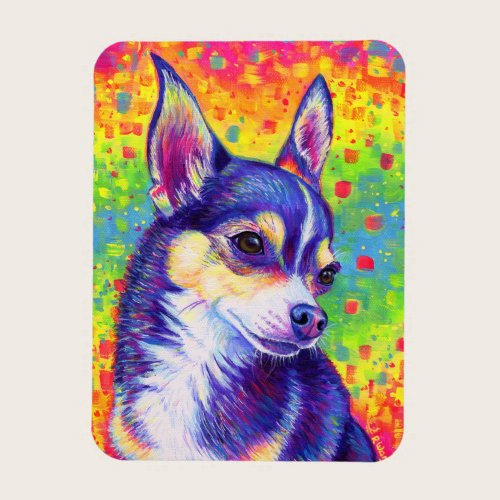 Psychedelic Rainbow Cute Chihuahua Flexible Magnet