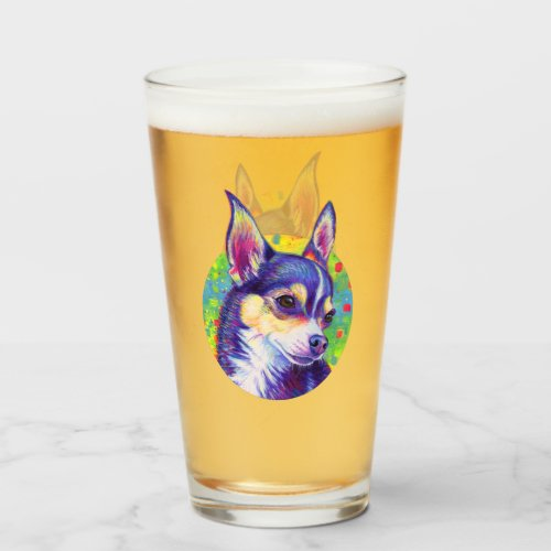 Psychedelic Rainbow Cute Chihuahua Glass Cup