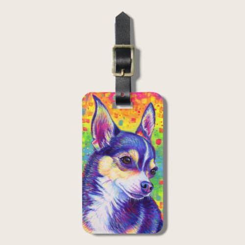 Psychedelic Rainbow Cute Chihuahua Luggage Tag