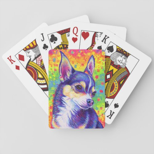 Psychedelic Rainbow Cute Chihuahua Playing Cards