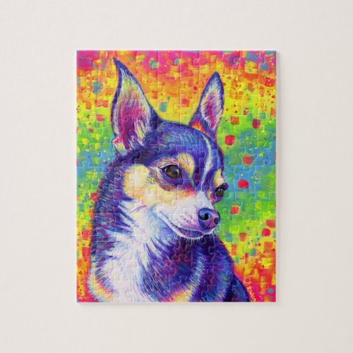 Psychedelic Rainbow Cute Chihuahua Puzzle