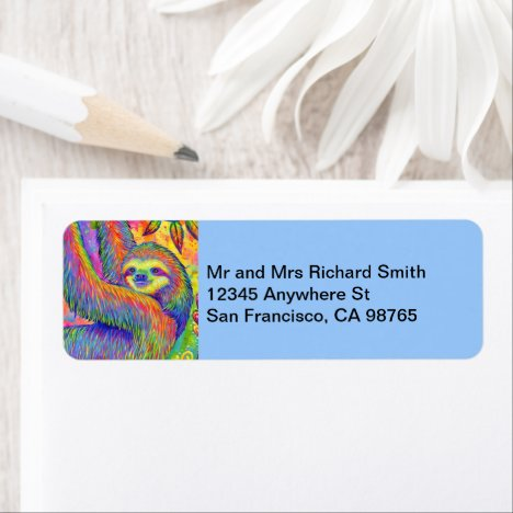 Psychedelic Rainbow Cute Sloth Address Labels