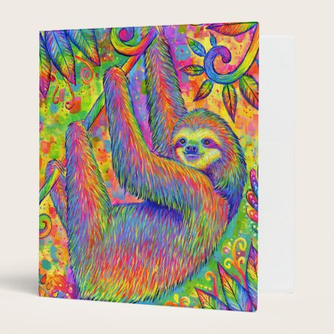 Psychedelic Rainbow Cute Sloth Binder