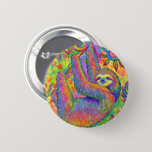 Psychedelic Rainbow Cute Sloth Button