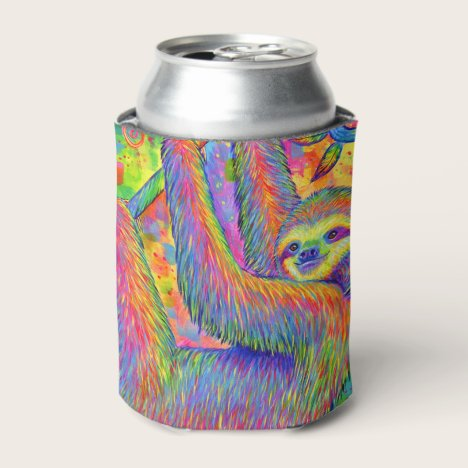 Psychedelic Rainbow Cute Sloth Can Cooler