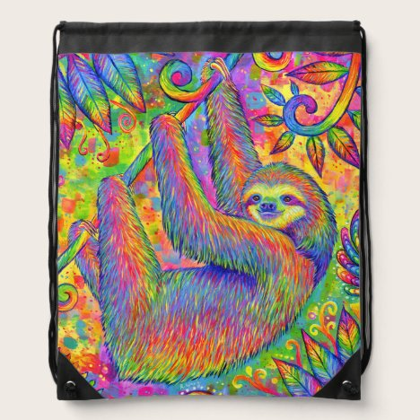 Psychedelic Rainbow Cute Sloth Drawstring Backpack
