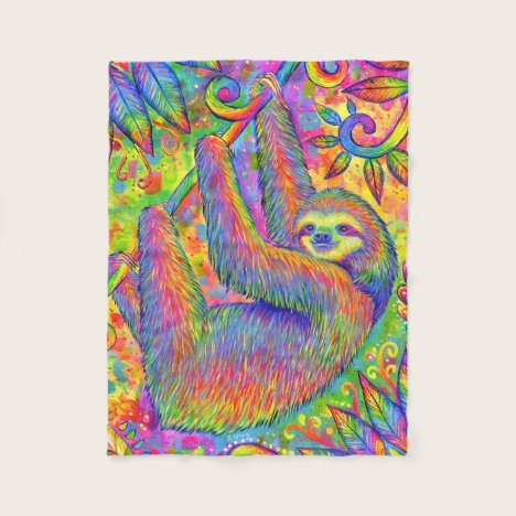 Psychedelic Rainbow Cute Sloth Fleece Blanket