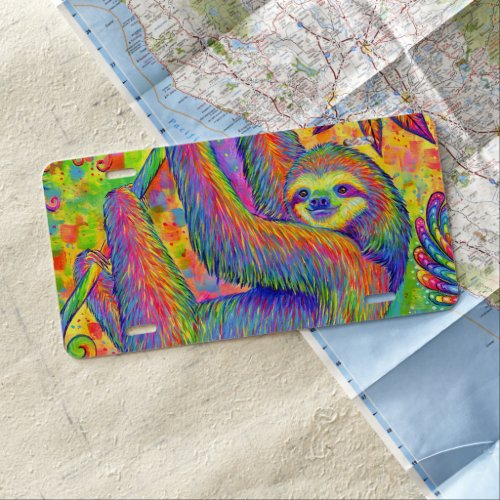 Psychedelic Rainbow Cute Sloth License Plate