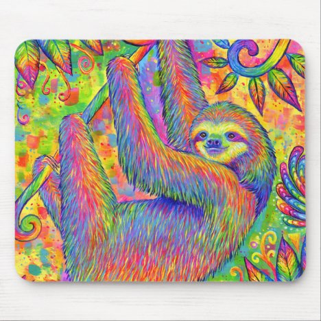 Psychedelic Rainbow Cute Sloth Mouse pad