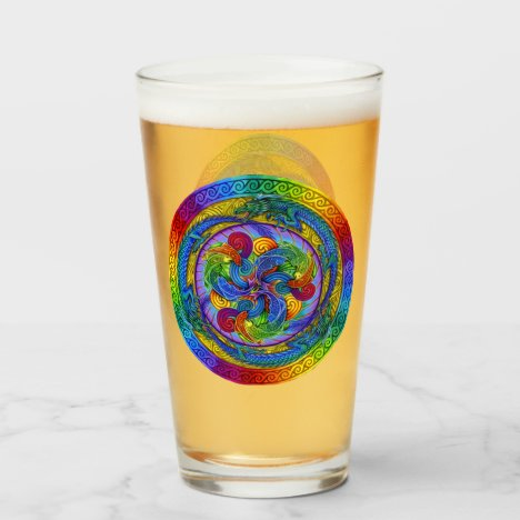 Psychedelic Rainbow Dragons Mandala Glass Cup