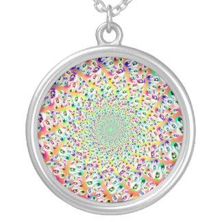 Psychedelic Rainbow Eyes Mandala Round Pendant Necklace