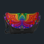 "Psychedelic Rainbow Fractal Courier Bag<br><div class=""desc"">This is a fun and psychedelic fractal image using a rainbow of colours. This geometric design is a bright rainbow with a cool depth.</div>"