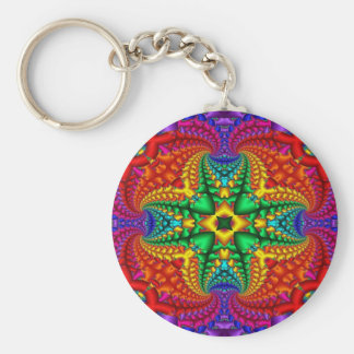 Psychedelic Rainbow Fractal Keychain
