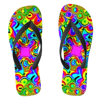Psychedelic Rainbow Fractal Sandals