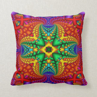 Psychedelic Rainbow Fractal Throw Pillow