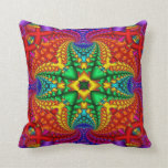 Psychedelic Rainbow Fractal Throw Pillows