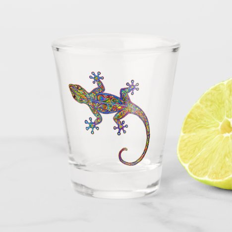 Psychedelic Rainbow Gecko Lizard Shot Glass