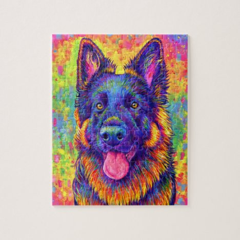 Psychedelic Rainbow German Shepherd Dog Puzzle