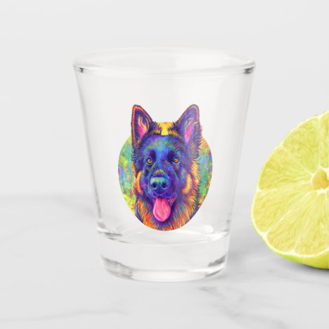 Psychedelic Rainbow German Shepherd Dog Shot Glass
