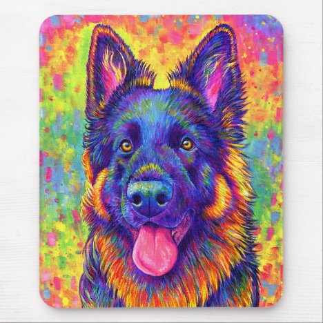 Psychedelic Rainbow German Shepherd Mouse pad