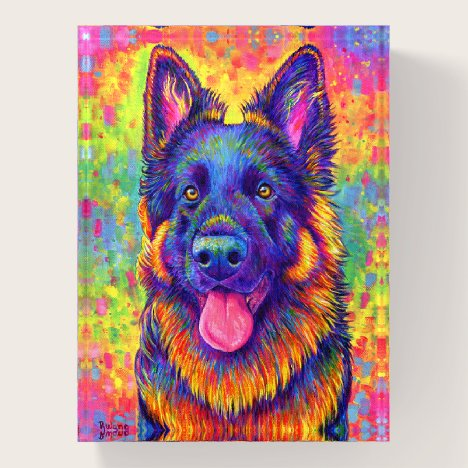Psychedelic Rainbow German Shepherd Paperweight