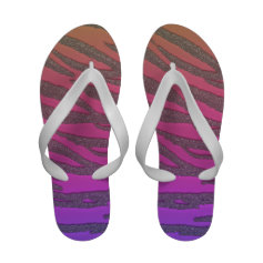 Psychedelic Rainbow Glitter Tiger Print Flip Flops