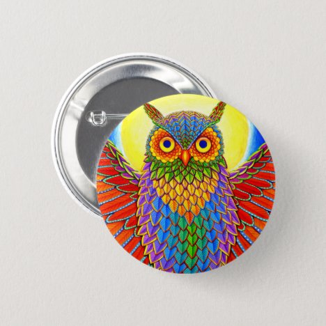 Psychedelic Rainbow Great Horned Owl Button